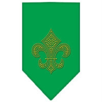 Mirage Pet Products 6731 SMEG Fleur De Lis Gold Rhinestone Bandana Emerald Green Small