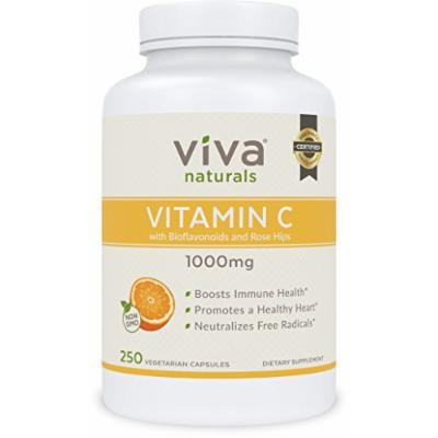 Viva Naturals Premium Non-GMO Vitamin C with Bioflavonoids and Rose Hips, 1000mg, 250 Veg Caps