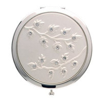 Welforth Silver Round Compact Mirror (Leaves w/Clear Rhinestones) Model No. S4078SIL
