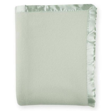American Baby Company 100% Cotton Fleece Crib Blanket with Satin Trim - Celery