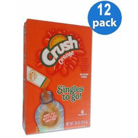 CRUSH Orange Sugar Free Natural Flavors Soft Drink Mix 6 Packets In Each Box (12 Pack)... GL