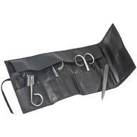 Rubis Switzerland Stainless Steel Tweezers in Leather Roll Case 4 Piece Set - Model No. 1K4.10