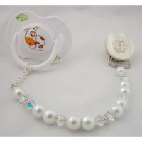 Crystal Dream Baby White Lacy Flower Pacifier Clip