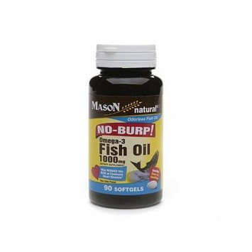 Mason Natural No Burp! Omega-3 Fish Oil, 1000mg, Small Softgels 90 ea