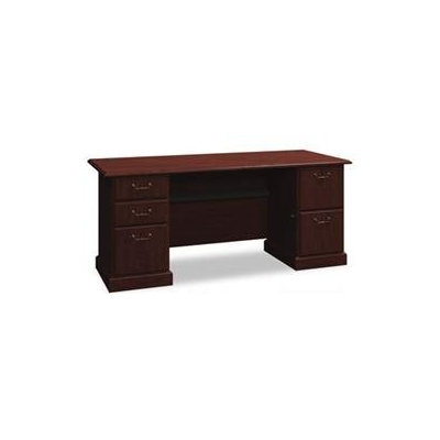 Bush Syndicate 72-in. Double Pedestal Desk - Harvest Cherry