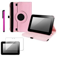 Insten INSTEN Pink 360 Degree PU Leather Stand Wake/Sleep Case Cover+Accessory for Kindle Fire HD 7