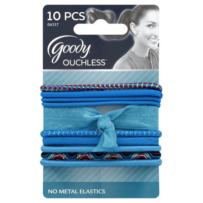 Goody Products Inc. Ouchless Designer Series Tiebacks, Blue, 10 CT