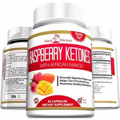 Raspberry Ketones Weight Loss Supplement - Plus African Mango and Green Tea Extract - Natural Ultra Potent Thermogenic Fat Burner Promotes Appetite Control, Boosts Energy and Healthy Metabolism, 500MG Per Serving, 60 Veggie Capsules - Made in USA