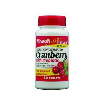 Mason Cranberry Highly Concentrated w/Probioticand Added Vitamin C and Calcium Tablets 60 ct (Pack of 2)
