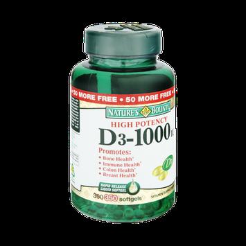Nature's Bounty High Potency D3-1000IU Vitamin Supplement Softgels - 350 CT