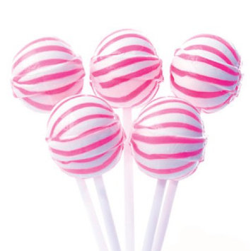 Yum Junkie Pink Sassy Suckers Striped Ball Lollipops 100 Pieces: 5 LBS