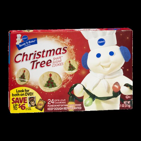 Pillsbury Ready to Bake Christmas Tree Shape Sugar Cookies Cookie Dough - 24 CT
