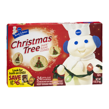 Pillsbury Ready to Bake Christmas Tree Shape Sugar Cookies Cookie Dough - 24 CT