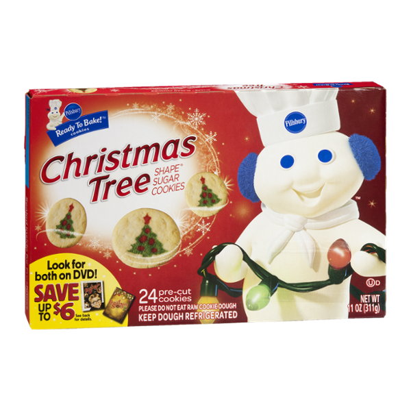 Pillsbury Ready To Bake Christmas Tree Shape Sugar Cookies Cookie Dough 24 Ct