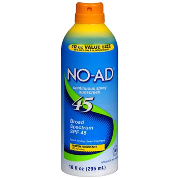 NO-AD Continuous Spray Sunscreen, SPF 45, 10 oz