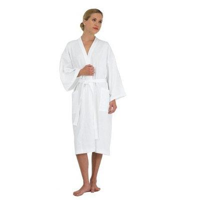 Canyon Rose Waffle Weave Unisex Spa Robe, Medium/Large, White
