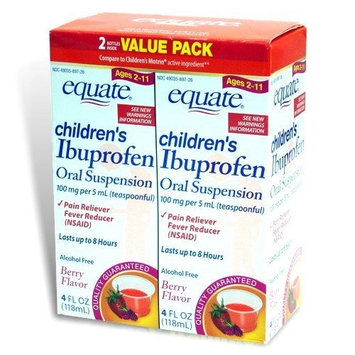 Equate Children's Ibuprofen Pain Reliever/Fever Reducer, Oral Suspension, Berry Flavor 8 Oz