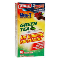 Mega-T Green Tea Fat Burning Supplement, Value Size, Caplets, 60 ea