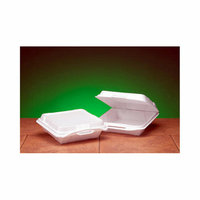Genpak Foam Hinged Carryout Container with 1 Compartment in White