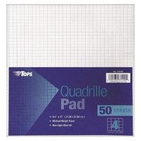 TOPS 8-1/2 x 11 Quadrille Pads, Four Squares Per Inch- White (50
