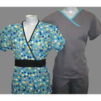 MEDGEAR 3 -PC  7871 Pewter Aqua & 1010 Aqua Bubble Print top