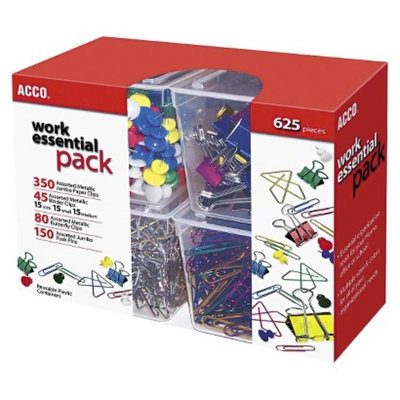 Acco ACCO Club Clip Pack - 80 Ideal, 45 Binder, 350 Jumbo Paper Clips, 150