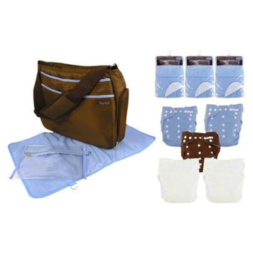 Trend Lab 19 Pc. Cloth Diaper Starter Pack - Blue and Brown by Lab