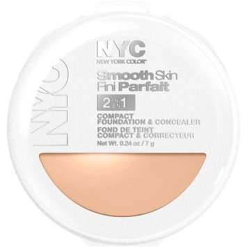 NYC N.Y.C. New York Color Smooth Skin 2 in 1 Compact Foundation, 0.24 oz