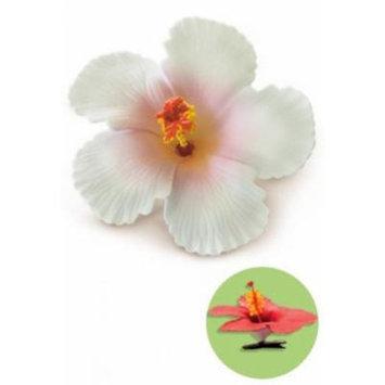 Hibiscus Clip Foam Flower - White