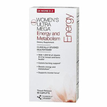 GNC Women's Ultra Mega Energy & Metabolism Multivitamin, Timed-Release Caplets 90 ea