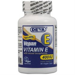 Deva Nutrition - Vegan Natural Vitamin E with Mixed Tocopherols 400 IU - 90 Vegetarian Capsules