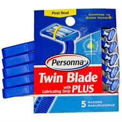 Personna Disposable Razors with Lubricating Strip Twin Blade Plus 5 Pack
