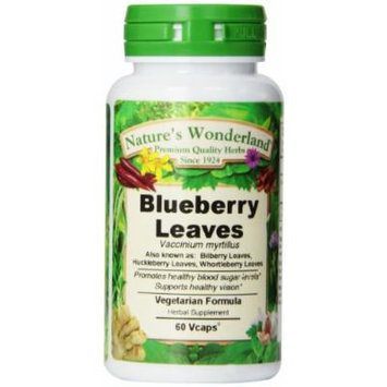 Nature's Wonderland Blueberry Leaves Herbal Supplement Capsules, 525 mg, 60 Count Bottles