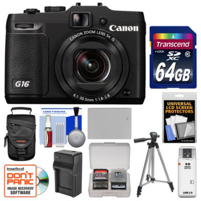 Canon PowerShot G16 Wi-Fi Digital Camera (Black) with 64GB Card + Case + Battery & Charger + Tripod + Kit