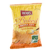 Herr's Oven Baked & Gluten Free Ripple Cut Potato Crisps Aged Cheddar
