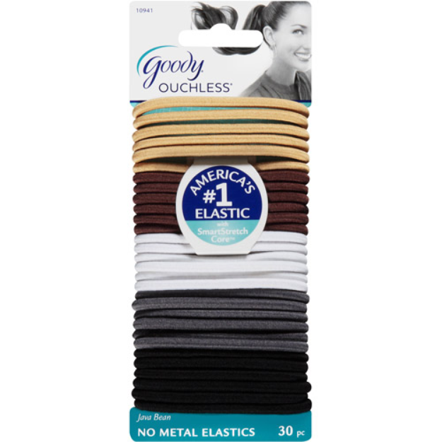 Goody Ouchless No Metal Elastics, Java Bean, 30 count