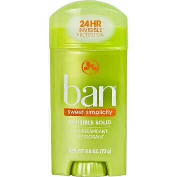 Ban Antiperspirant Deodorant, Invisible Solid, Sweet Simplicity 2.6 Oz (Pack of 4)