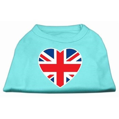 Mirage Pet Products 51-137 MDAQ British Flag Heart Screen Print Shirt Aqua Med - 12