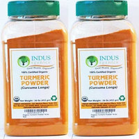 Indus Organics Indus Organic Turmeric (Curcumin) Powder Spice 1 Lb (X2 Jars), High Purity, Freshly Packed
