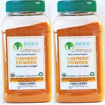 Indus Organics Indus Organic Turmeric (Curcumin) Powder Spice 1 Lb (X2 Jars), High Purity, Freshly Packed