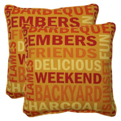 Pillow Perfect Outdoor 2-Piece Square Throw Pillow Set - Yellow/Orange Grillin