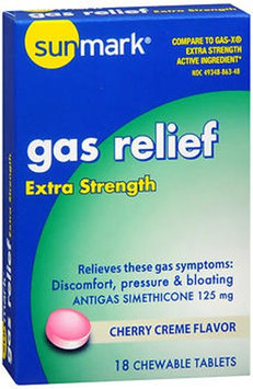 Sunmark Gas Relief Chewable Tablets Extra Strength, Cherry Creme Flavor 18 Tabs by Sunmark