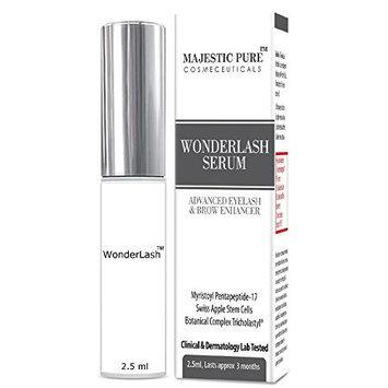 Majestic Pure Eyelash Growth Serum WonderLash - 2.5 ml Cutting Edge Myristoyl Pentapeptide-17 & Swiss Apple Stem Cells Based Formula For Eyelashes and Brows