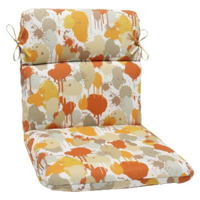 Pillow Perfect Outdoor Round Edge Chair Cushion - Orange/Tan Neddick