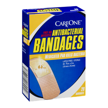 CareOne Antibacterial Bandages with Medicated Pads