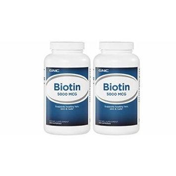 GNC Biotin 5000 mcg 240 Capsules - 2 packs (total 480 caps)