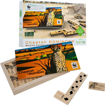 Trademark Games African Cheetah Wood Dominoes Game - For all ages