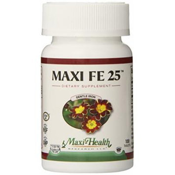 Maxi Health FE 25 - Gentle Iron - Ferrous Fumarate Supplement - 100 Tablets - Kosher (Pack of 2)