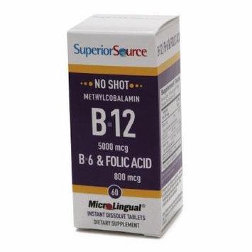 Superior Source No Shot Methyl B12 5000 mcg/B6/Folic Acid 800mcg, Disolve Tablets 60 ea