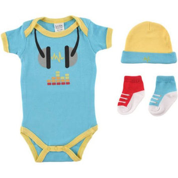 Baby Vision Luvable Friends Boys 4 Piece Baby DJ Gift Set with Bodysuit, Hat and 2 Pairs Faux Sneaker Socks- 0-6 Months